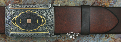 Hand Engraved Sterling Silver 'Rail' Trophy-Style Belt Buckle w/Shakudo & Gold 'Americana Collection 1851-T'