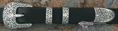 Hand Engraved Sterling Silver Ranger Belt Buckle Set w/Diamond 'Americana Collection 1853-R'