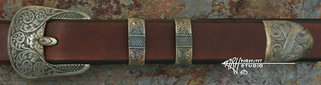 Hand Engraved Sterling Silver Ranger Belt Buckle Set 'Americana Collection 1854-R'