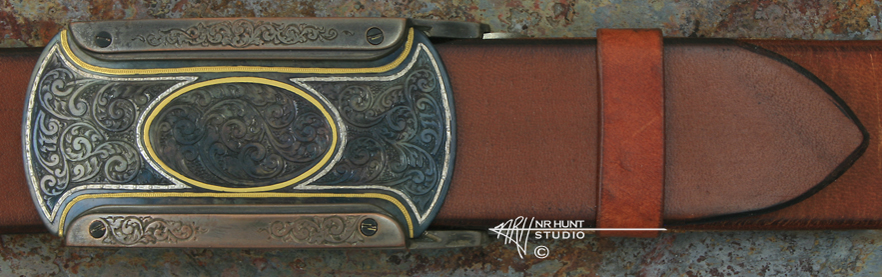 Hand Engraved Blued Steel & Shibuichi 'Rail' Trophy-Style Belt Buckle w/Gold & Pure Silver 'Americana Collection 1855-T'