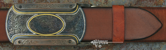 Hand Engraved Steel 'Rail' Trophy-Style Belt Buckle w/Shibuichi, Sterling, & Gold 'Americana Collection 1855-T'
