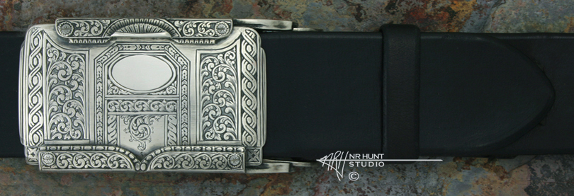 Hand Engraved Sterling Silver 'Rail' Trophy-Style Belt Buckle 'Americana Collection 1857-T'