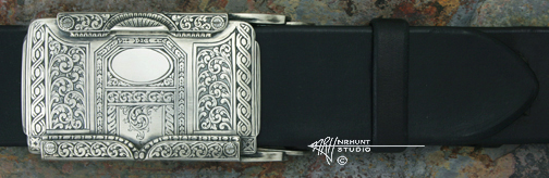 Hand Engraved Sterling Silver Trophy-Style Belt Buckle 'Americana Collection 1857-T'