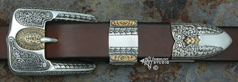 Hand Engraved Sterling Silver Ranger Belt Buckle Set w/Gold 'Americana Collection 1858-R'