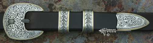 Hand Engraved Sterling Silver Ranger Belt Buckle Set w/Gold 'Americana Collection 1859-R'