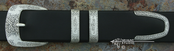Hand Engraved Sterling Silver Ranger Belt Buckle Set 'Americana Collection 1860-R'