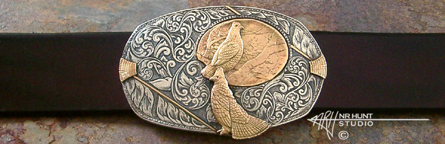 Solid Sterling Silver Trophy-Style Belt Buckle w/Gold