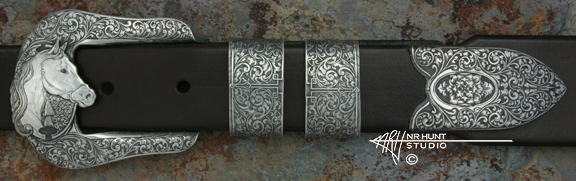Sideview of Solid Sterling Silver Buckle Set