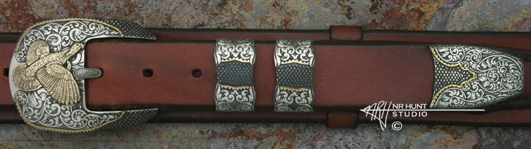 Sterling Silver Belt Buckle Set w/Gold