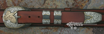 Solid Sterling Silver Belt Buckle Set w/Gold