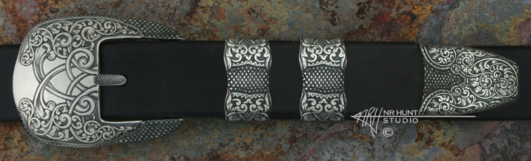 Solid Sterling Silver Belt Buckle Set