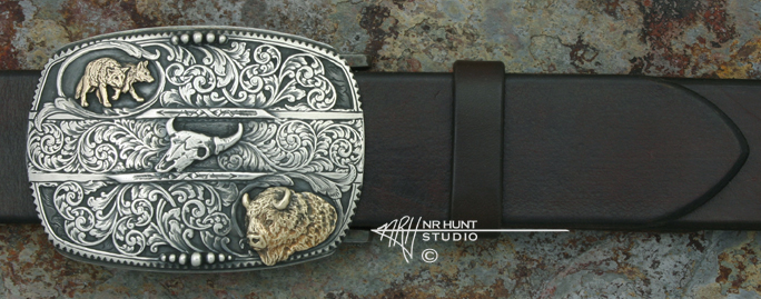 Solid Sterling Silver Trophy-Style Belt Buckle w/Optional Gold