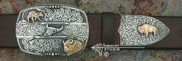 Solid Sterling Silver Trophy-Style Belt Buckle & Tip w/Gold