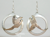 Solid Sterling Silver Pheasant Earrings w/Gold