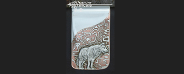 Hand-Crafted Sterling Silver & Mokume-gane Money Clip 'Wolf'