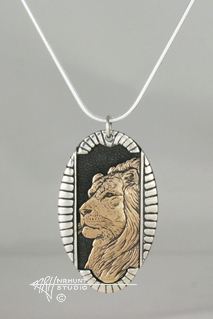 Solid Sterling Silver 'Framed Lion' Pendant w/Gold