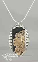 Sterling Silver w/Yellow Bronze or Gold 'Framed Lion' Pendant