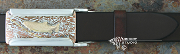 Silver & Mokume-gane 'Rail' Trophy-Style Belt Buckle w/Gold Trout