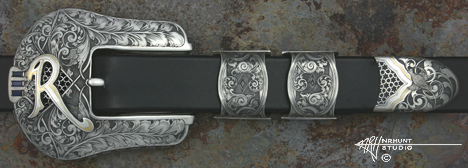 Engraved Silver & Gold Belt Buckle Set