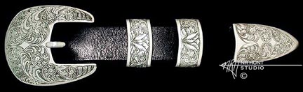 Engraved silver Baja buckle set '1.may02'