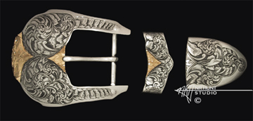Engraved silver buckle set w/gold '1.feb01'