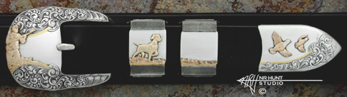 Engraved Silver and Gold Belt Buckle Set