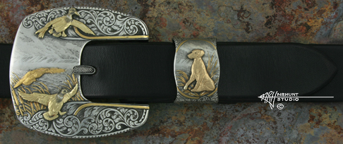 Engraved Silver and Gold Belt Buckle & Keeper