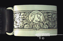 Engraved silver buckle 'Tom's' '2.jun01'