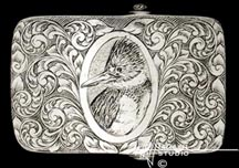 Engraved silver buckle 'Kingfisher' '2.mar02'