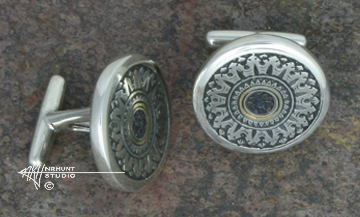 Hand Engraved Sterling Silver Cufflinks w/Shakudo & Gold 'Hinge Pin No. 2 July, 2016'