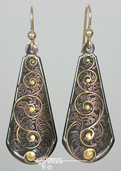 Engraved Shakudo Earrings w/Gold & Pure Silver
