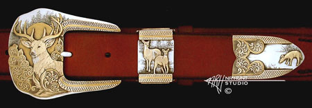 Engraved silver buckle set w/Gold and Gold lines, 'Whitetail Buck' '1.jan04'