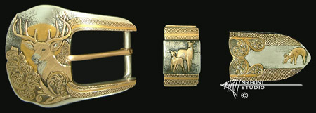 Engraved silver buckle set w/gold 'Whitetail Buck' '1.sep04'