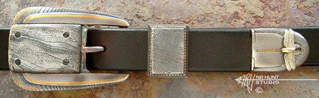 Silver and Steel Belt Buckle Set w/Gold