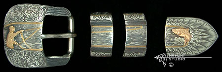 Engraved Silver buckle set w/gold 'Fly-Fishing' '1.oct04'
