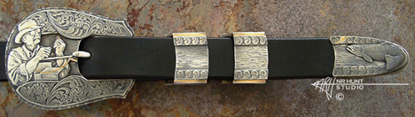 Engraved Silver Belt Buckle Set w/Gold