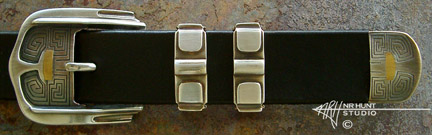 Silver Belt Buckle Set w/Gold