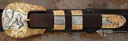 Engraved Silver and Gold Buckle Set