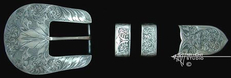 Engraved Silver Buckle Set '1.sep03'