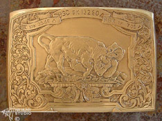 Engraved 18K Gold Belt Buckle