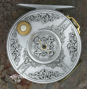 Hand Engraved Fly Fishing Reel, 'Henshaw Reel' '1.apr13'