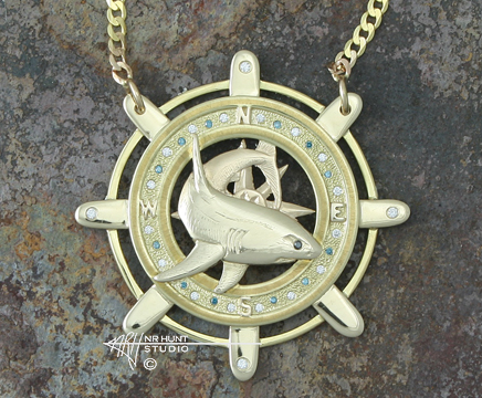Handcrafted Solid Gold Medallion w/Diamonds 'Tood's Shark'