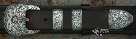 Engraved Silver Ranger Buckle Set