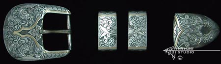 Engraved Mojave silver buckle set w/Gold lines 1.jul03'