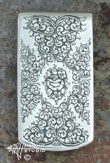 Engraved Silver 'Rose and Scroll' Money Clip