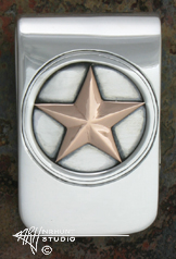 Custom Handcrafted Silver Money Clip w/Gold 'Lone Star'