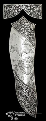 Engraved Silver Plates for knife sheath 'Mountain Goat' 'mar02'