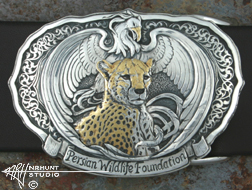 Engraved Silver Trophy-Style Belt Buckle w/Gold