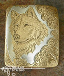 Engraved silver & gold 'Wolf' pin