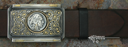 Engraved Silver 'First Hobo' Buckle w/Gold